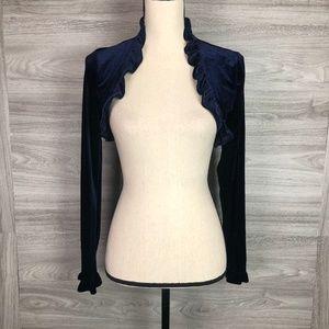 Finesse Navy Blue Velvet Open Front Top Size M